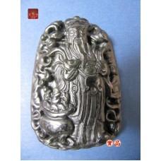 是玉石非黑曜石文財神爺聚寶盆在案手握金元寶如意招財墜玉飾實品拍實物更好看